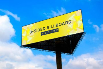 Free Triangle 3-Sided Billboard Mockup PSD